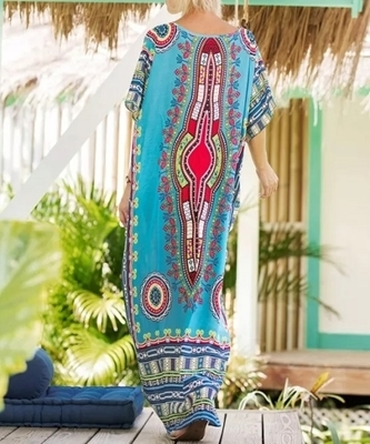 Picture of Ornate Tribal Print Kaftan Oversize Beach Dress