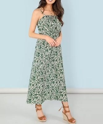 Picture of Leaf Print Knot Front Cami Light Dress