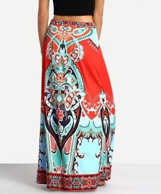 Picture of Bright Boho Tassel Tied Waist Orange Maxi Skirt