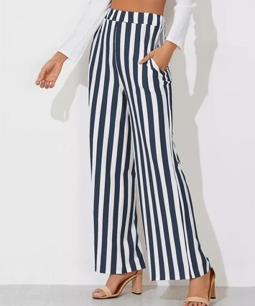 Picture of Thin Navy and white Block Striped Wide Leg Pants