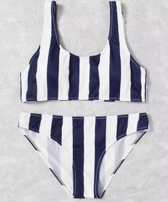 Picture of Navy and white Double Scoop Striped Bikini Set