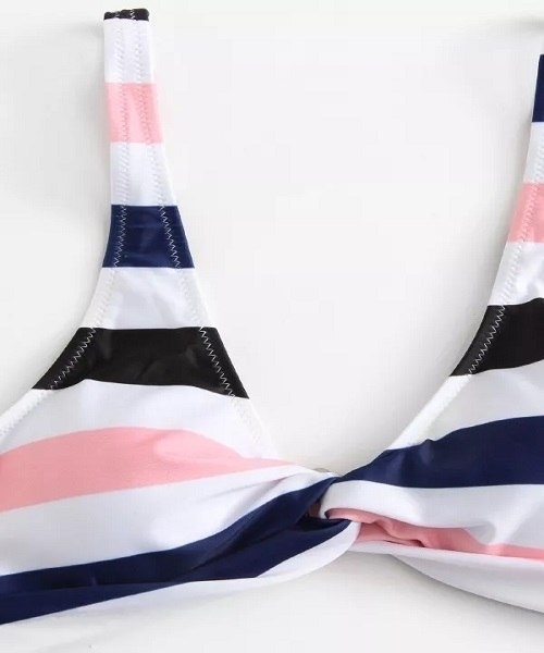 Picture of Striped Twist and Bow Tie bottom Bikini Set