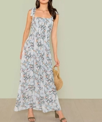 Picture of Floral Print Self Tie Shoulder Shirred Maxi Dress