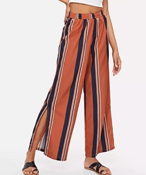 Picture of Striped Split Side Wide Pants