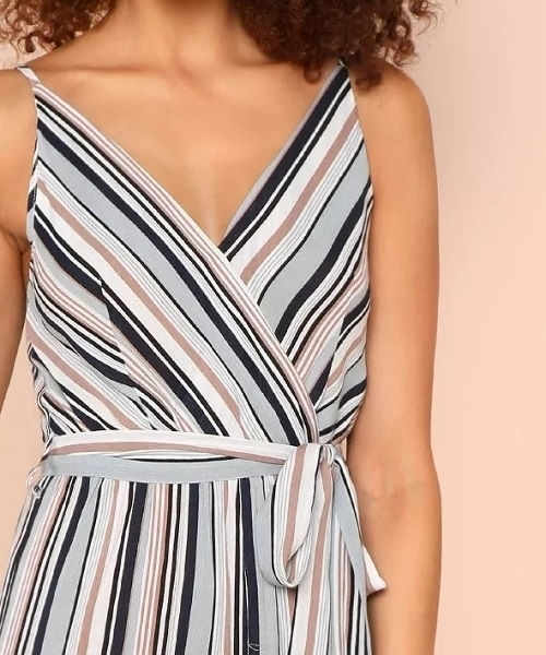 Picture of Surplice Neck Wide Leg Self Belted Jumpsuit