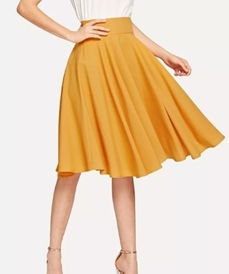 Picture of High Waist Wide Waistband Circle Mustard Skirt