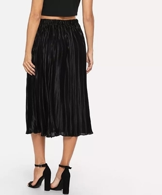 Picture of Pleated flare Solid Skirt