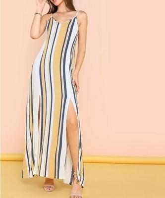Picture of Double V Neckline Slit Hem Striped Cami Maxi Dress