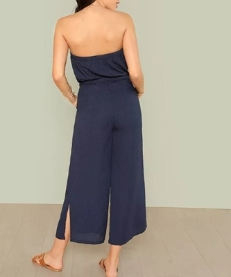 Picture of Strapless Tie Waist Slit Hem Wide Leg Jumpsuit