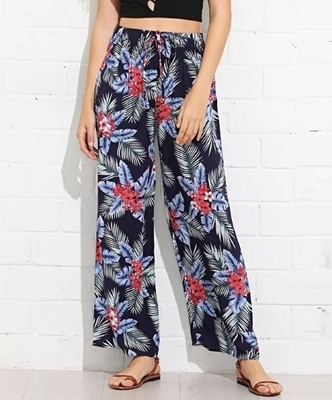 Picture of Floral Tropics Print Drawstring Waist Loose Pants