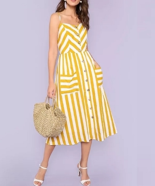Picture of Striped Button Up Pocket Front Cami Dress