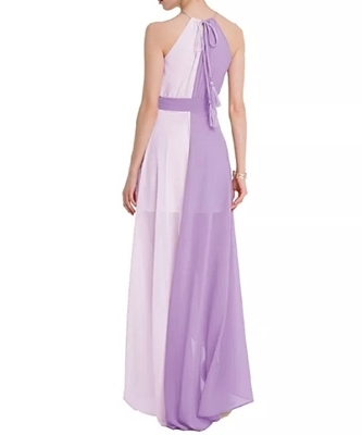 Picture of Two Tone Dip Hem Chiffon Dress With Weave Strap