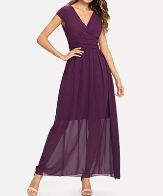 Picture of Surplice Wrap Chiffon Dress