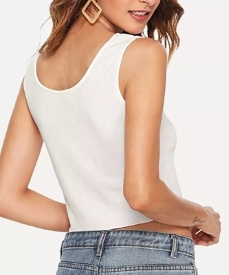 Picture of Button Detail thin Ribbed Sleeveless Crop Top (off white)