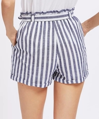 Picture of Frill Waist Striped Self Belted Shorts
