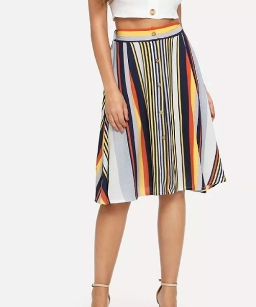 Picture of Single Breasted Striped Skirt