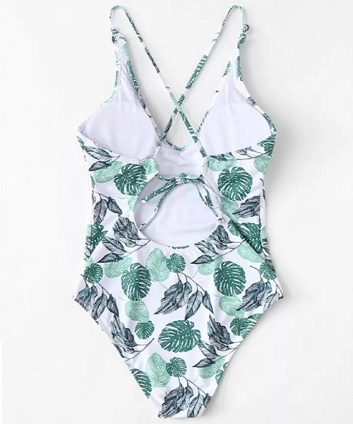 Picture of Palm Print Criss Cross one piece Swimsuit