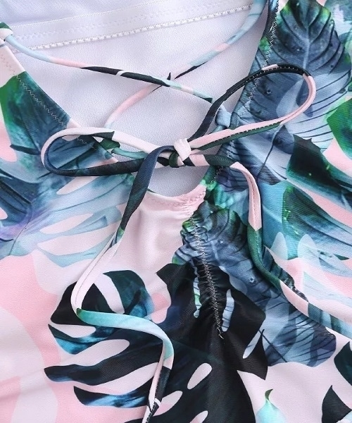 Picture of Pink Leaf print tropical swimsuit