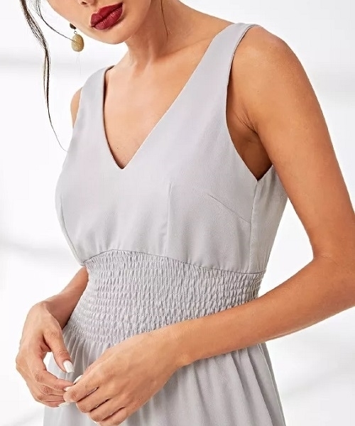Picture of Deep V Runched Pleated Shell Occasion Dress
