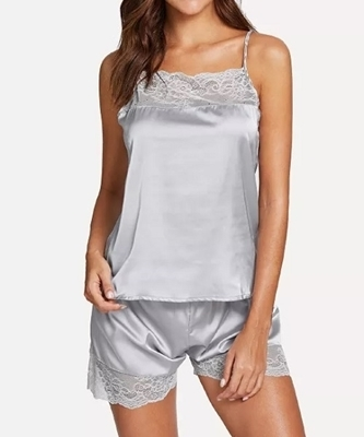Picture of Contrast Detail Lace Pajama Set