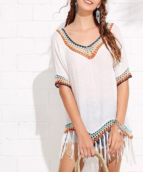 739b53575a Picture of Fringe Hem Hollow Out Beach Cover Up