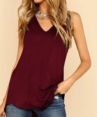 Picture of Dolphin Hem V Neck  Tank Top