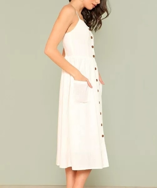 Picture of Button Up Pocket Patched Cami Womens Dress