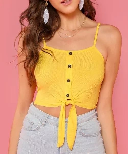 Picture of Crop Button Up Front Knot Cami Top