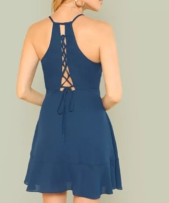 Picture of Ruffle Detail Wrap Strappy Cami Party Dress