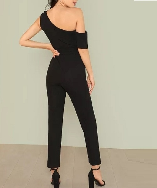 Picture of Asymmetrical Neck Solid Party Jumpsuit