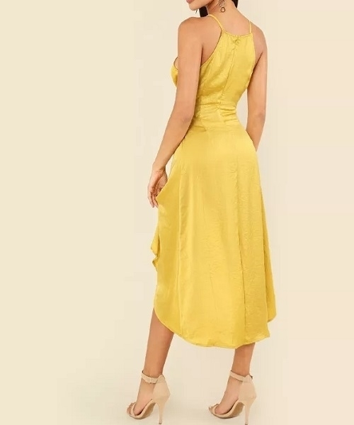 Picture of Asymmetrical Knot Front Dip Hem Cami Dress