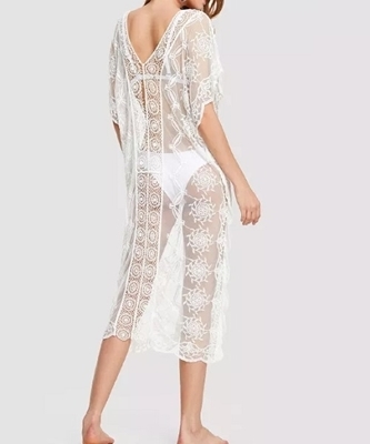 Picture of Crochet Insert Embroidered Sheer Cover Up Beach Dress