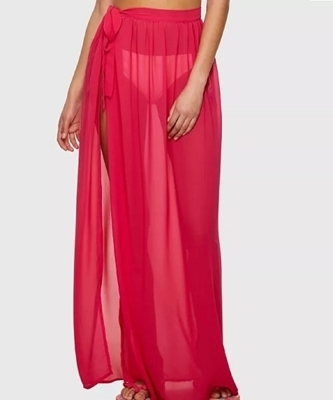 Picture of Slit Side Semi Sheer Knot Beach Cover Up Skirt