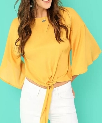Picture of Knot Front Flounce Sleeve Top