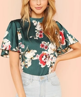 Picture of Flounce sleeve keyhole back floral Top