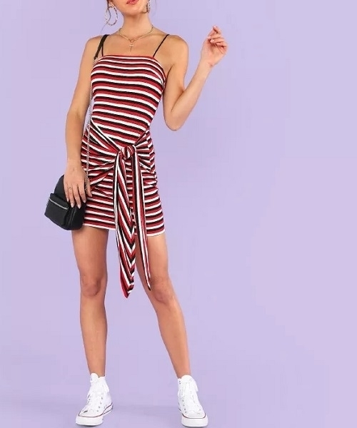 Picture of Knot Front Striped Ribbed Cami Dress