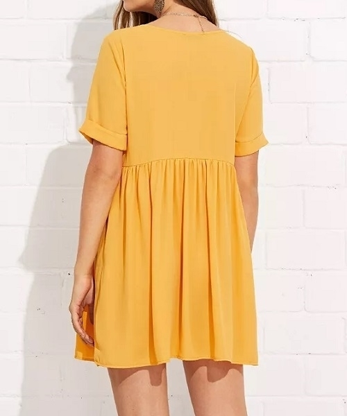 Picture of Embroidery Tape Detail Smock Short Dress