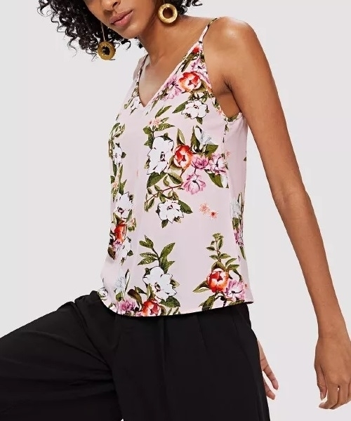 Picture of Flower print double V neck cami top