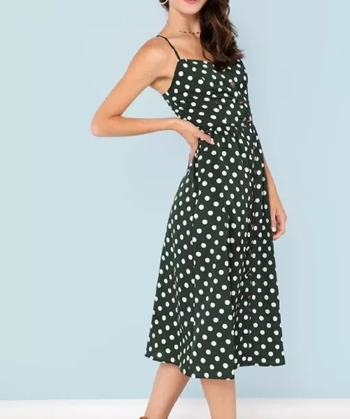 Picture of Polka Dot button up cami dress