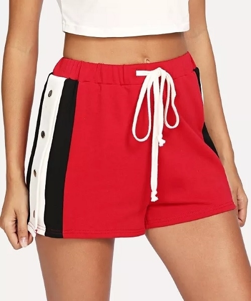 Picture of Button Detail Side Drawstring  women's shorts