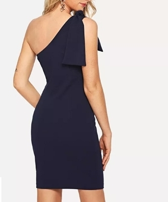 Picture of Knot Detail One Shoulder Bodycon Dress - Navy
