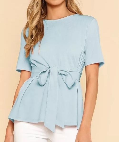 Picture of Belted Self Tie Round Neck Top
