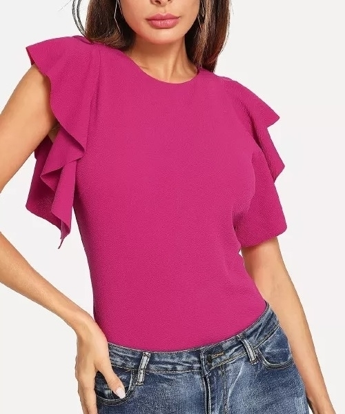 Picture of Ruffle sleeve button up top