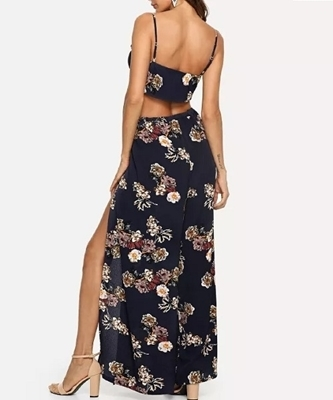 Picture of Floral tie cami top and Drawstring Palazzo Pants Set (two set)