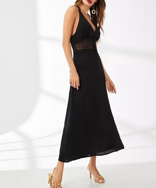 Picture of Lace Insert Open Back Evening Dress