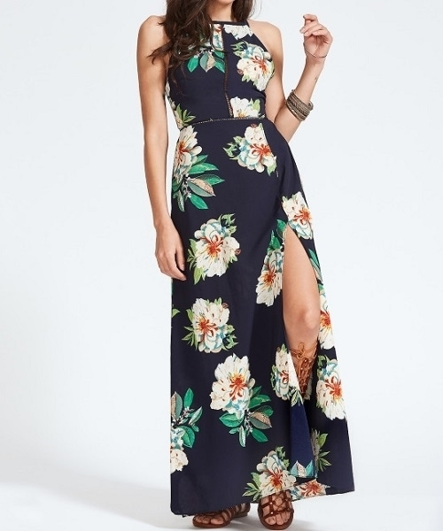 Picture of Lace Insert Floral Open Back Bow Tie Slit Hem Maxi Dress