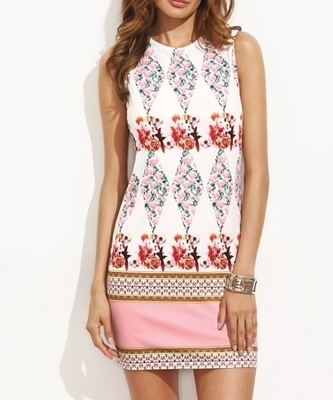 Picture of Colourful Tribal floral Round Neck Print Dress