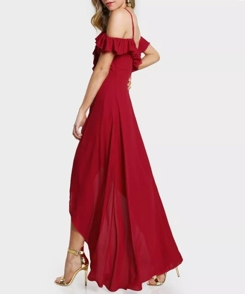 Picture of Off Shoulder Plunge front long Occasion dress