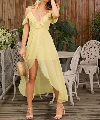 Picture of Asymmetric Off Shoulder Ruffle Chiffon Long Dress