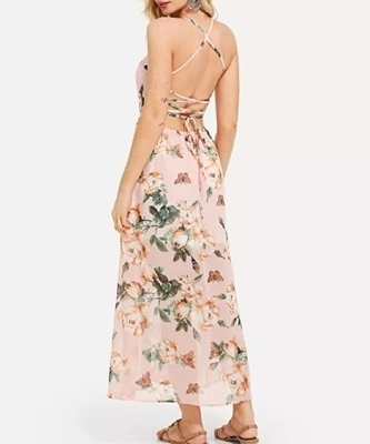 Picture of Floral Lace Up Back Print Maxi Dress